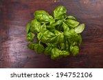 fresh basil on wooden background | Shutterstock . vector #194752106
