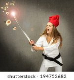 sportive chef made sushi with... | Shutterstock . vector #194752682