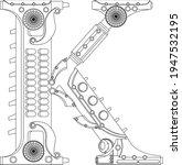 vector letter k coloring book.... | Shutterstock .eps vector #1947532195