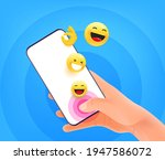 messaging concept. man holding... | Shutterstock .eps vector #1947586072