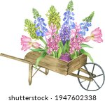 Watercolor Spring Bouquets With ...