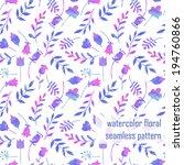 cute seamless watercolor vector ... | Shutterstock .eps vector #194760866