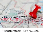 chattanooga city pin on the map | Shutterstock . vector #194763326