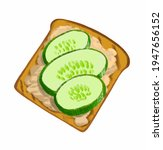 drawing toast with cucumber and ... | Shutterstock . vector #1947656152