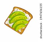 drawing toast with cream cheese ... | Shutterstock . vector #1947656155