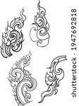line thai hand drawn.thai wave... | Shutterstock .eps vector #1947692818