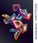 3d Colorful Striped Squares On...