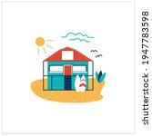 beach hut flat icon. wooden...