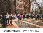 Small photo of SOSNOWIEC, POLAND – MAR 1, 2020: Wolf Trail. Remembrance Run in the memory of Cursed soldiers. People participating in the annual Wolf's Trail Run to honour Polish soldiers of the anti-communist.
