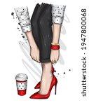 women's legs in stylish jeans... | Shutterstock .eps vector #1947800068