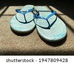 Blue Flip Flops On A Sunlit...