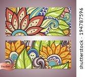 vector set of floral banner.... | Shutterstock .eps vector #194787596