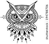 ethnic style owl vector drawing.... | Shutterstock .eps vector #194788706