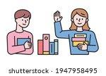 boy and girl holding books....   Shutterstock .eps vector #1947958495