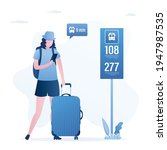cute girl stands at bus stop...   Shutterstock .eps vector #1947987535
