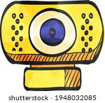 webcam icon in color drawing....