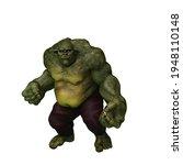 Giant Green Ogre In Aggresisve...