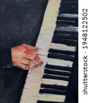 Piano Oil Painting  Hand...
