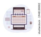 planning app on smartphone...   Shutterstock .eps vector #1948130002