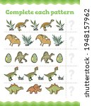 dinosaurs complete the pattern... | Shutterstock .eps vector #1948157962