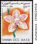 Small photo of SAHARA - CIRCA 1996: a stamp printed in Sahrawi Arab Democratic Republic shows phalaenopsis solar flare, hybrid orchid, circa 1996