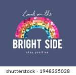 look on the bright side slogan... | Shutterstock .eps vector #1948335028