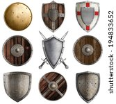 Постер, плакат: medieval shields collection isolated