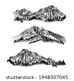 mountain with pine trees and... | Shutterstock . vector #1948507045