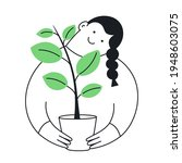 growing a plant in the flower...   Shutterstock .eps vector #1948603075