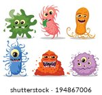 cartoon cute monsters and... | Shutterstock .eps vector #194867006