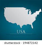 vector usa map card paper on... | Shutterstock .eps vector #194872142