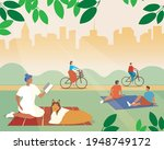 picnic on the grass  weekend in ... | Shutterstock .eps vector #1948749172