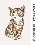 sepia hand drawn cat   vector... | Shutterstock .eps vector #1948829065