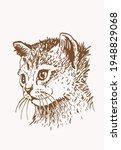 sepia portrait of  cat   vector ... | Shutterstock .eps vector #1948829068