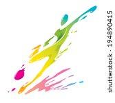 paint splashing   soccer player ... | Shutterstock .eps vector #194890415
