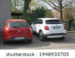Small photo of Hulse,Germany-April 02,2produced from 2014 for the 2016021: Red Fiat bravo and Fiat 500x park in Hulse. Fiat Bravo produced from 2007 to 2014 while Fiat 500x produced in 2014.