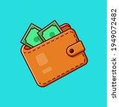 wallet and money cartoon vector ... | Shutterstock .eps vector #1949072482