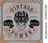 vintage motorbike race   hand... | Shutterstock .eps vector #194922782