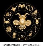 capricorn vector and flower of...   Shutterstock .eps vector #1949267218