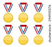 set of flat golden medals on... | Shutterstock .eps vector #194935376