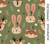 seamless pattern with tribal...   Shutterstock .eps vector #1949401342