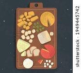 cheese set. gourmet composition ... | Shutterstock .eps vector #1949445742