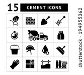 Set icons of cement and concrete isolated on white. Vector illustration