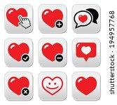 heart  love vector buttons set | Shutterstock .eps vector #194957768
