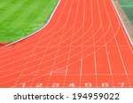 athletic track with white lane... | Shutterstock . vector #194959022