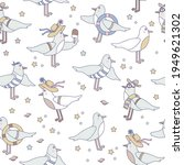 Seamless Patterns With Seabirds....