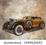 vintage postcard with retro car....   Shutterstock . vector #1949624692