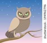 Illustration Of A Wild Owl...