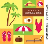 set of colored flat summer... | Shutterstock .eps vector #194964626