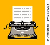 retro typewriter with sheet of... | Shutterstock .eps vector #1949684215